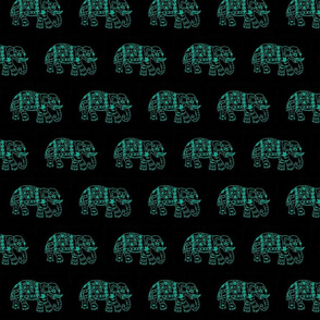 Teal elephants on Black