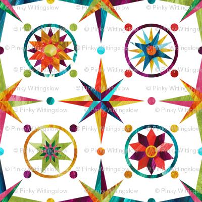 Mariner's Compass - Rainbow on White