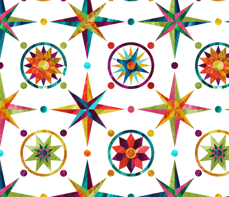 Mariner's Compass - Rainbow on White fabric by pinky_wittingslow on Spoonflower - custom fabric
