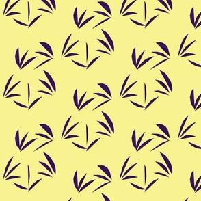 Deep Purple Oriental Tussocks on Buttery Yellow