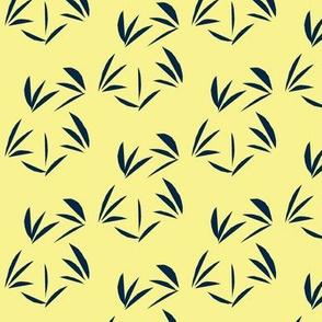 Indigo Oriental Tussocks on Buttery Yellow - Small