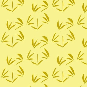 Antique Gold Oriental Tussocks on Buttery Yellow