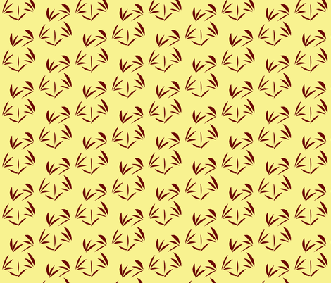 Russet Oriental Tussocks on Buttery Yellow fabric by rhondadesigns on Spoonflower - custom fabric