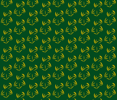 Antique Gold Tussocks on Forest Green fabric by rhondadesigns on Spoonflower - custom fabric