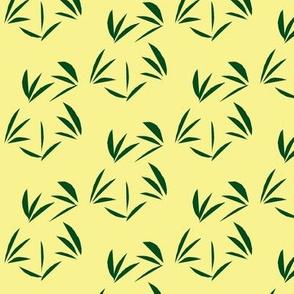Forest Green OrientalTussocks on Buttery Yellow