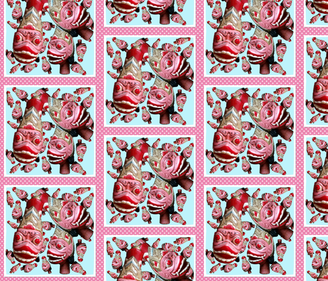Puppet heads and polka dots fabric by myflamingheart on Spoonflower - custom fabric