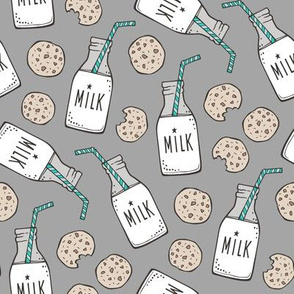 Milk and Cookies on Dark Grey