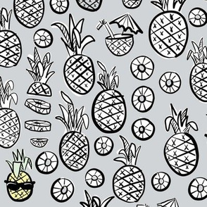 pineapples black + white