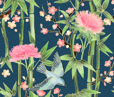 Bamboo, Birds and Blossoms on teal fabric by micklyn on Spoonflower - custom fabric