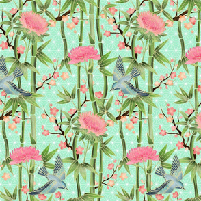 Bamboo, Birds and Blossoms on mint - small