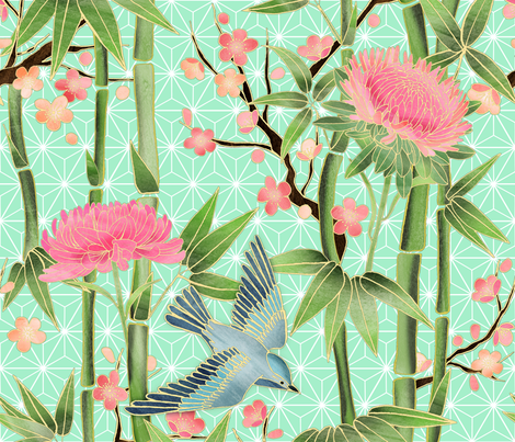 Bamboo, Birds and Blossoms on mint fabric by micklyn on Spoonflower - custom fabric