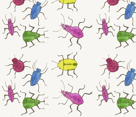 Multicolored bugs and beetles by Sara Aurora Waters fabric by sara-aurora-waters on Spoonflower - custom fabric