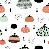 Fall fruit geometric pumpkin design scandinavian style halloween print coral mint orange