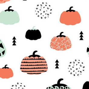 Fall fruit geometric pumpkin design scandinavian style halloween print coral mint orange