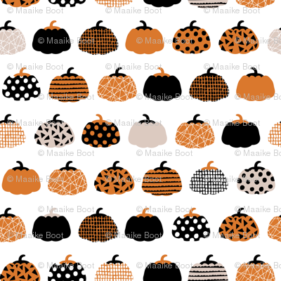 Fall fruit geometric pumpkin design scandinavian style halloween print black and white orange