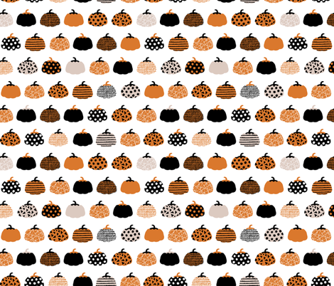 Fall fruit geometric pumpkin design scandinavian style halloween print black and white orange fabric by littlesmilemakers on Spoonflower - custom fabric