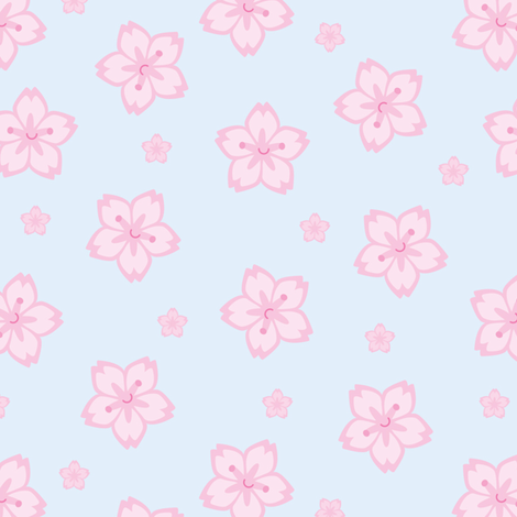 Sakura Cherry Blossoms fabric by marcelinesmith on Spoonflower - custom fabric