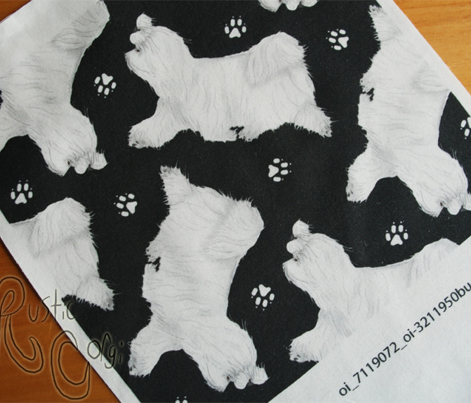 Trotting Maltese and paw prints - black