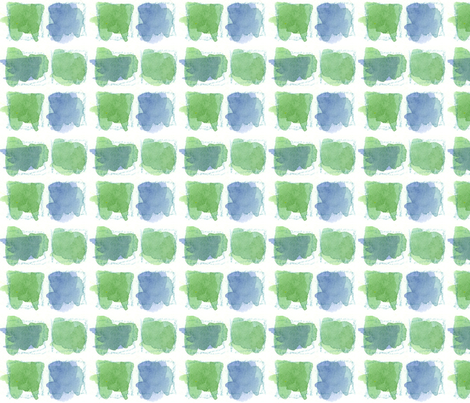 Squares in Sage and Periwinkle fabric by countrygarden on Spoonflower - custom fabric