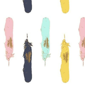 Feathers in gold on navy turquoise pink and mustard