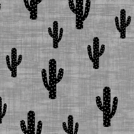 Cactus -Black GrayTexture fabric by kimsa on Spoonflower - custom fabric