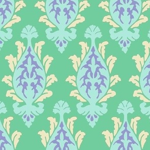 damask green and periwinkle