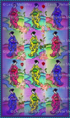 Graceful Geisha in blue, yellow and pink kimonos