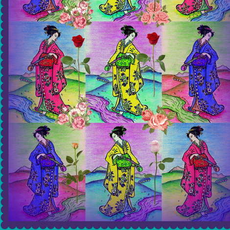 Graceful Geisha in blue, yellow and pink kimonos fabric by lazella_rosetta on Spoonflower - custom fabric