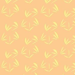 Buttery Yellow Oriental Tussocks on Peach Blush - Medium Scale
