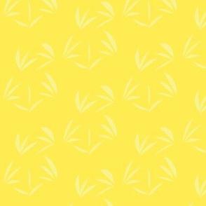 Buttery Yellow Oriental Tussocks on Lemon Fizz - Large Scale