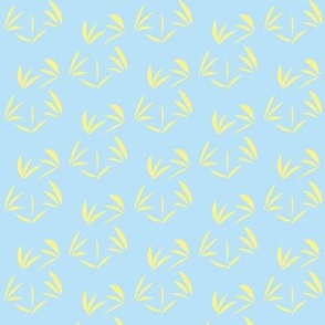 Buttery Yellow Tussocks on Baby Blue - Small Scale