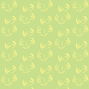 Buttery Yellow Oriental Tussocks on Cool Spring Green - Small Scale