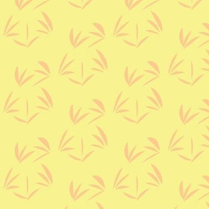 Peach Blush Oriental Tussocks on Buttery Yellow - Medium Scale