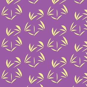 Buttery Yellow Oriental Tussocks on Sweet Violet - Medium Scale