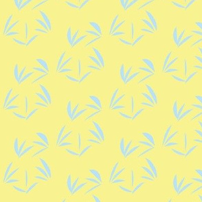 Baby Blue Tussocks on Buttery Yellow - Medium Scale