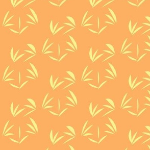 Buttery Yellow Oriental Tussocks on Tangerine - Medium Scale