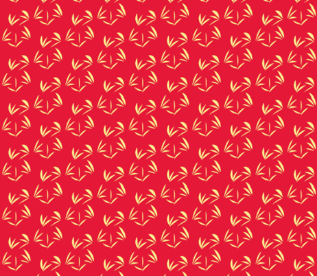 Buttery   Oriental Tussocks on Tomato Red fabric by rhondadesigns on Spoonflower - custom fabric