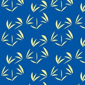 Buttery Yellow Oriental Tussocks on Sapphire Blue - Large Scale