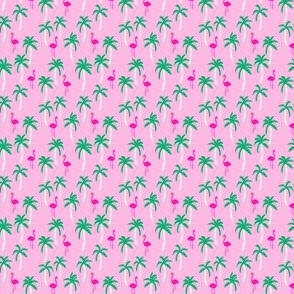 palm tree  fabric// pink flamingo tropical summer cute mini pink