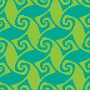 spiral trellis in lime and aqua