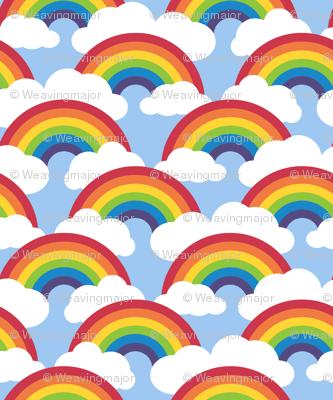 small circle rainbow - blue skies
