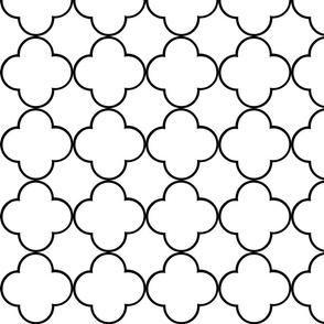 quatrefoil 2  Medium -  white black
