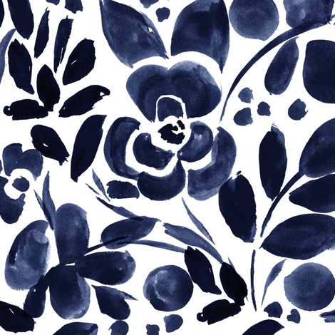 Navy Floral fabric by crystal_walen on Spoonflower - custom fabric