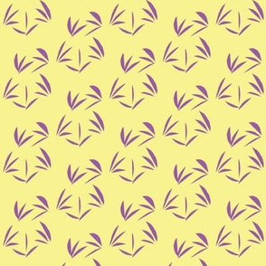 Sweet Violet Oriental Tussocks on Buttery Yellow - Small Scale