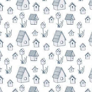 Bird Houses, Drawing in Blue and Gray
