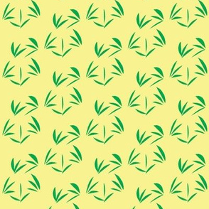 Emerald Green Oriental Tussocks on Buttery Yellow - Small Scale