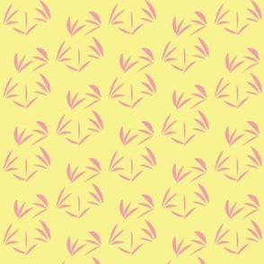 Pink Carnation Oriental Tussocks on Buttery Yellow - Small Scale