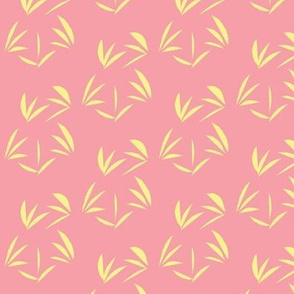 Buttery Yellow Tussocks on Carnation Pink - Small Scale