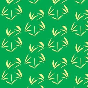 Buttery Yellow Oriental Tussocks on Emerald Green - Medium Scale