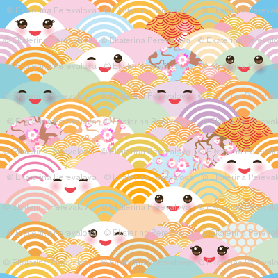 Japanese Cherry Sakura Flowers Cute Kawaii Faces With A Smile Pastel Color